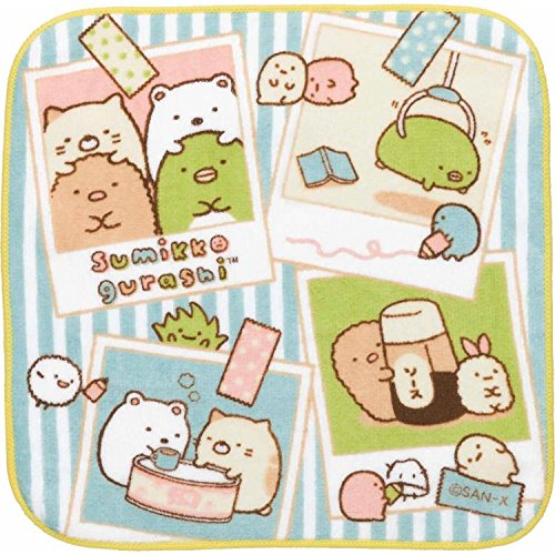 San-X Character Hand Towel / Mini Towel / Hand Towel / Wash Cloth / Handkerchief (Blue Stripe CM63406)