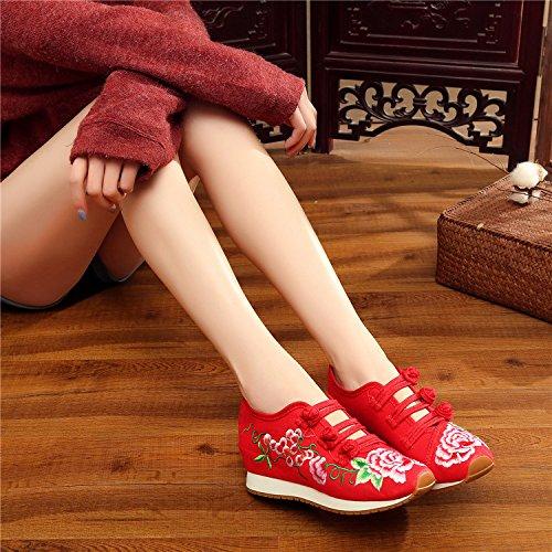 Que Zapatos Bordado se Zapatos Rojo Estudiantes Caminar oras cu para Mujeres Pisos a viajan Las de Zapatillas wggIqHz
