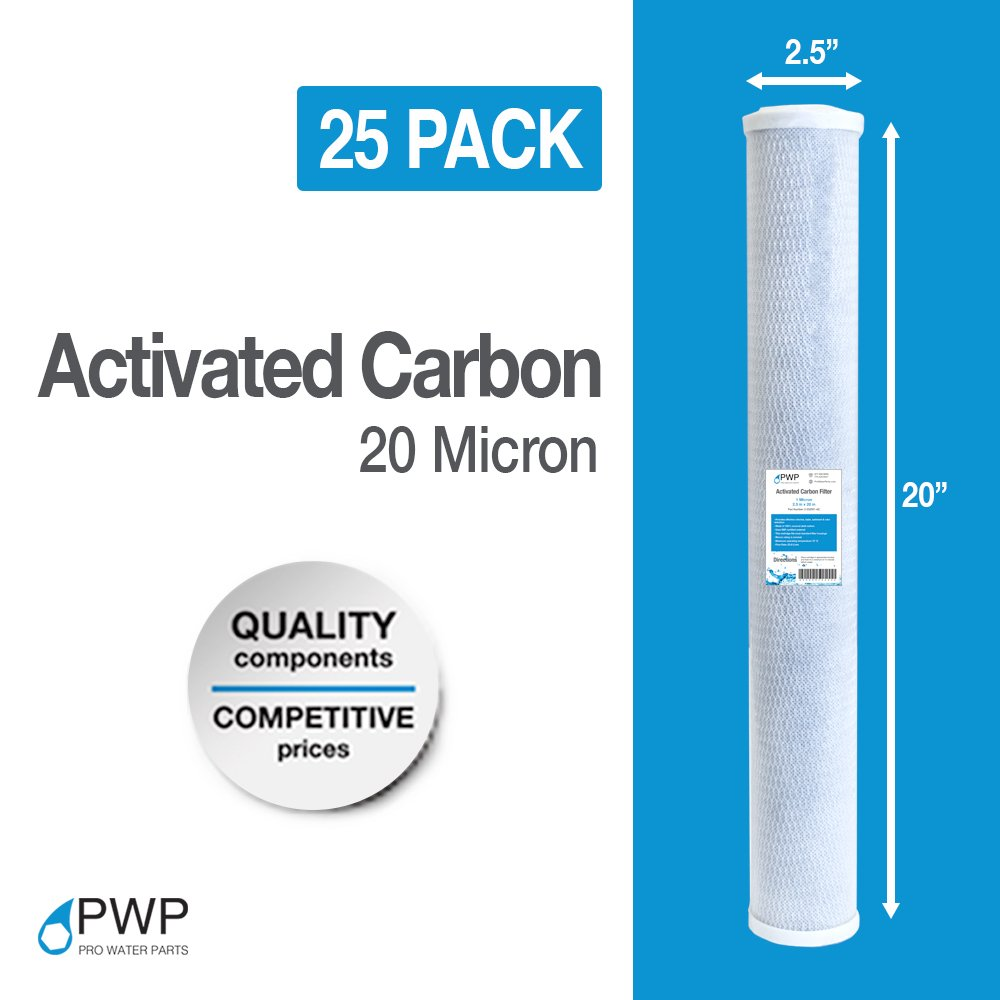 PWP Activated Carbon Whole House RO Water Pre Filter CTO 2.5 x 20 Inch 20 Micron 20 pack
