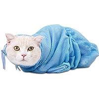 KOBWA Katzen-Waschbeutel, verstellbar, multifunktional, Polyester-Netz, Katzen-Fessel, hält Ihre Katze leise für einfaches Nageltrimmen, Ohrenreinigung/Injecting