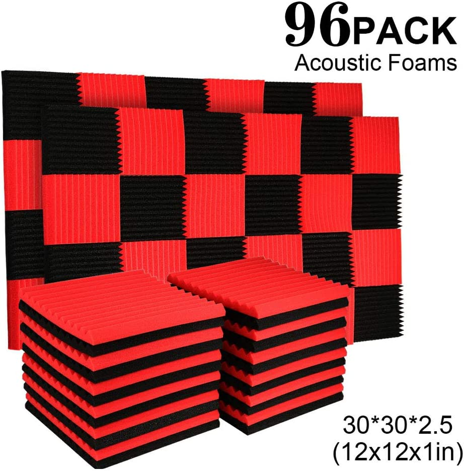 "96 Pack Acoustic Panels Soundproof Studio Foam for Walls Sound Absorbing Panels Sound Insulation Panels Wedge for Home Studio Ceiling, 1"" X 12"" X 12"", Black"" (96PACK, BLACK&RED)"