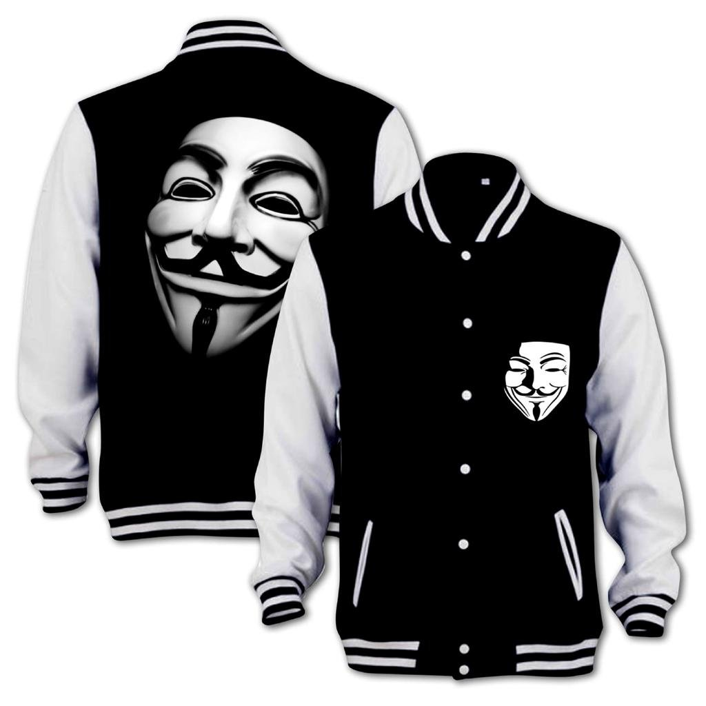 Bang Tidy Clothing Vendetta Anonymous Mask Varsity Jacket Black & White XL 20140050