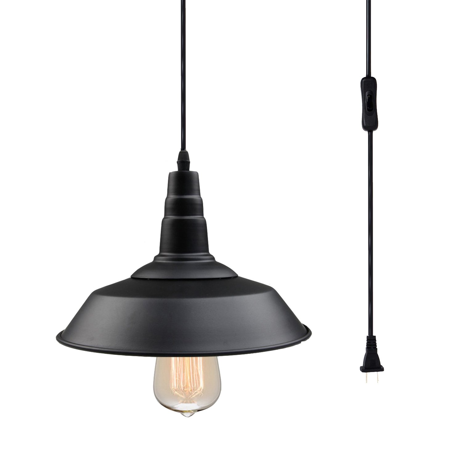Pauwer Plug in Pendant Light Fixture Industrial Metal Black Warehouse Hanging Pendant Lamp with On/Off Switch in Line