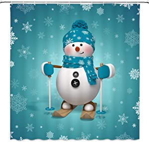 WZFashion Snowman Shower Curtain Teal Merry Christmas Funny Snowman with Mittens and Hat Scarf Snowflake Kids Happy New Year Holiday Decor Xmas Bathroom Curtain Set Fabric 70x70IN with Hooks