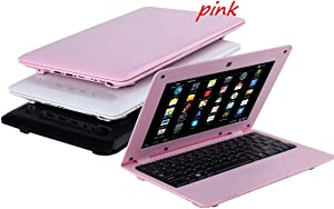 Goldengulf 2020 Latest 10 Inch Computer Laptop PC Android 6.0 Quad Core Mini Notebook Netbook 8GB WiFi Webcam USB Netflix YouTube Google Player Flash (Pink)