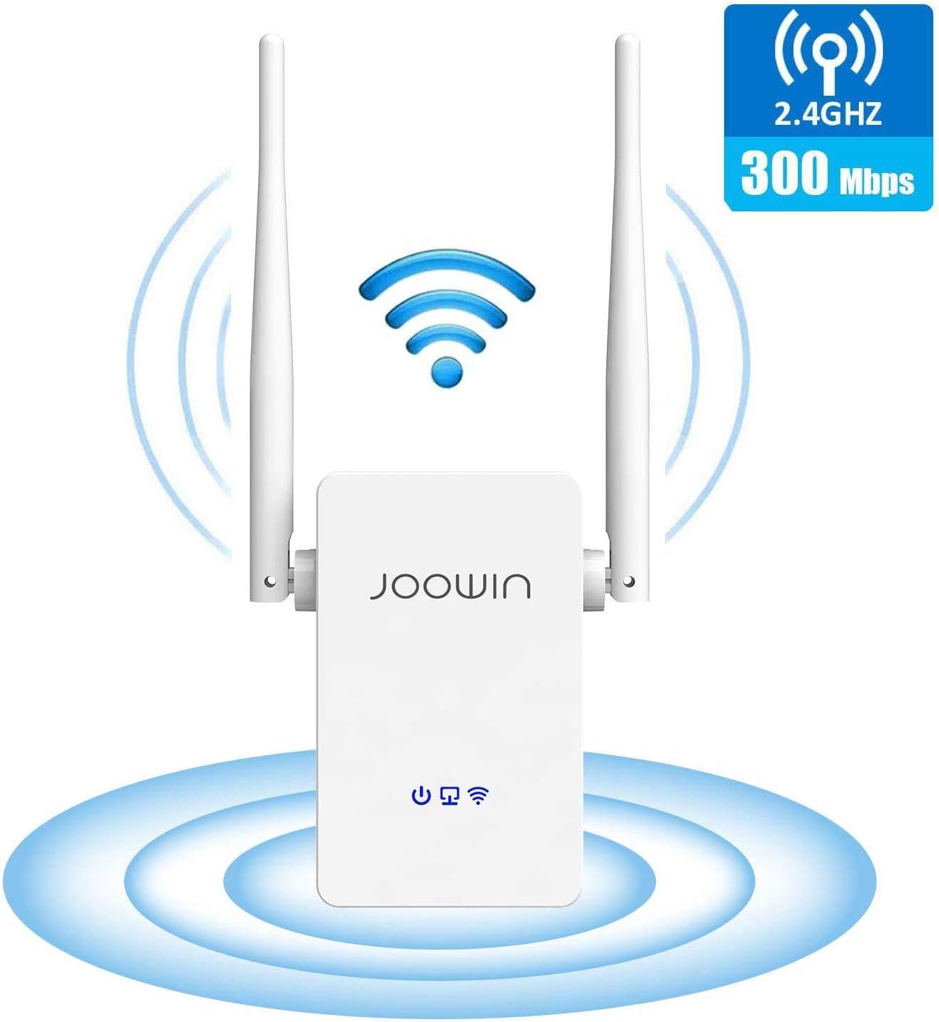 JOOWIN Repetidor WiFi,Enrutador Inalámbrico de Extensión de Rango WiFi de 2.4GHz/300Mbps,Extensor de Punto de Acceso WiFi Fácil de Usar,WiFi Amplificador Puerto Ethernet/Modo Ap/Modo WPS (Blanco)