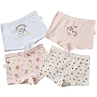 Little Girls' Underwear 4 PACK Girl Boxer Briefs Soft Cotton Breathable Comfort Panty Cute Patern