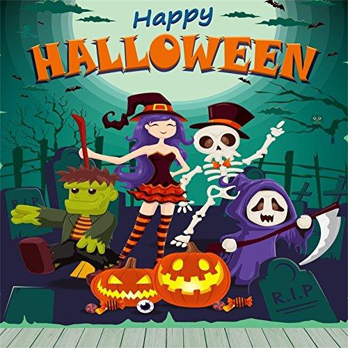 Laeacco Happy Halloween Backdrop 10x10ft Vinyl Photography Background Witch Dressed Up Girl Skeleton Ghost Green Skin Man Pumpkin Lamps Gravestone Owl Scene Trick Or Treat Baby Shoot Dark -