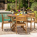 Stanyan | 5 Piece Outdoor Acacia Wood Dining Set | Perfect for Patio | with Teak Finish For Sale