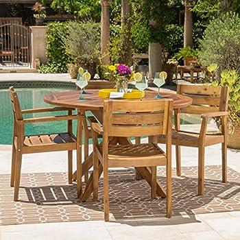 Stanyan Outdoor Teak Finish Acacia Wood 5 Piece Dining Set