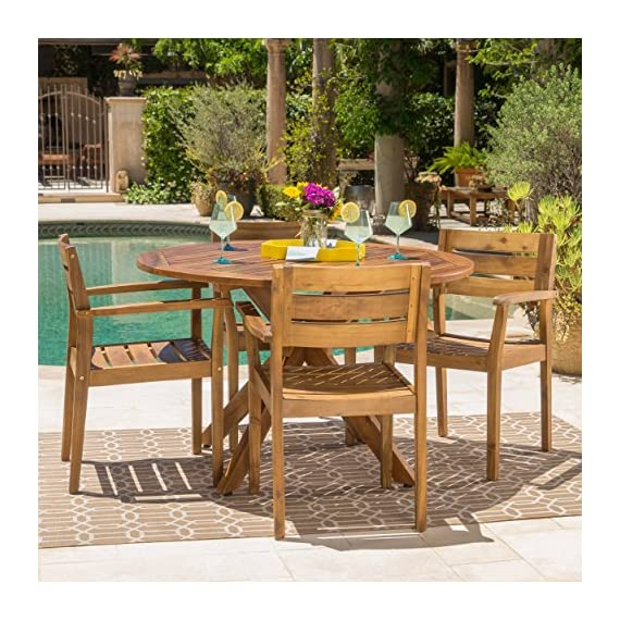 "GDF Studio Stanyan | 5 Piece Outdoor Acacia Wood Dining Set | Perfect for Patio | with Teak Finish - Includes: Six (4) Chairs and One (1) Table Material: Acacia Wood | Finish: Teak Table Dimensions: 47.25""D x 47.25""W x 30.00""H 