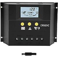 Controlador de carga solar, 12V24V50A Controlador de carga solar Regulador del cargador PWM con sensor de temperatura…