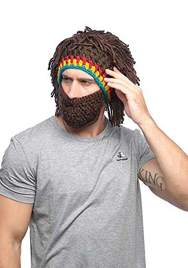 9170a41cbaa Amazon.com  Xinqiao Wig Beard Hat Rasta Beanie Caveman Halloween Costume  Funny Caps (Brown)  Clothing