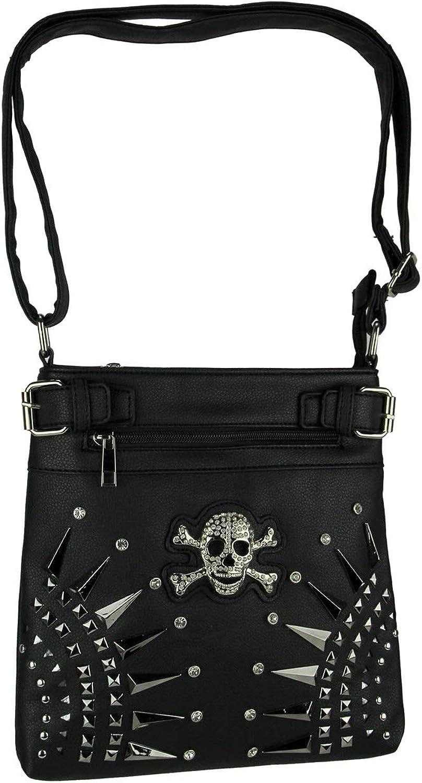 Rhinestone Skull Spike Studded Concealed Carry Crossbody Bag
