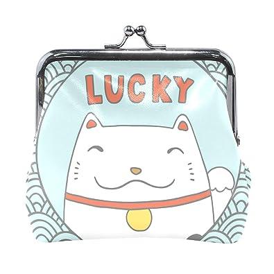 Amazon.com: Monedero de piel con diseño de gato de la suerte ...