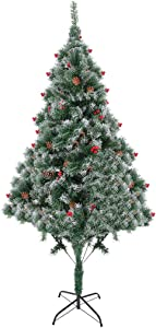 Christmas Tree,6/7 Ft White Artificial Christmas Tree, Flocked Snow Trees,Eco-Friendly Artificial Pine Tree with Metal Stand&Decoration (6 Foot, Green Snow)