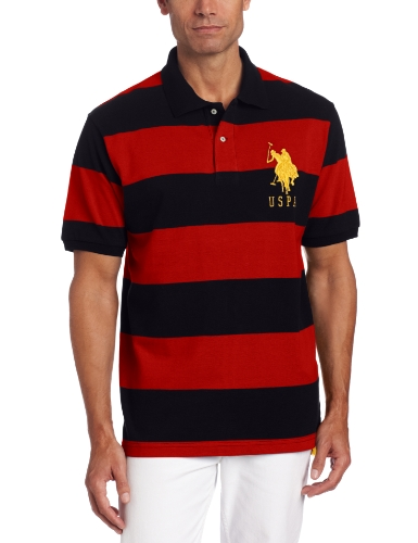 U.S. Polo Assn. Men's Short Sleeve Striped Polo, Black/Engine Red, X-Large