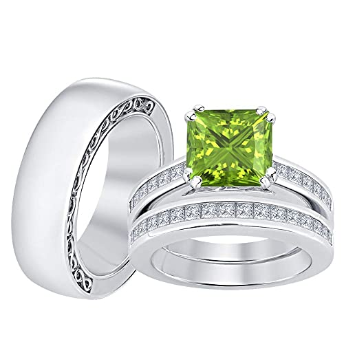 Amazon.com: SVC-JEWELS - Anillo de boda de plata de ley 925 ...