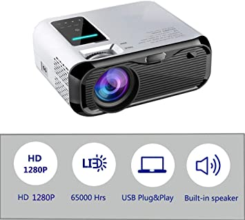 Mini proyector LED de 4500 lúmenes, video Full HD 1280P, HDMI ...