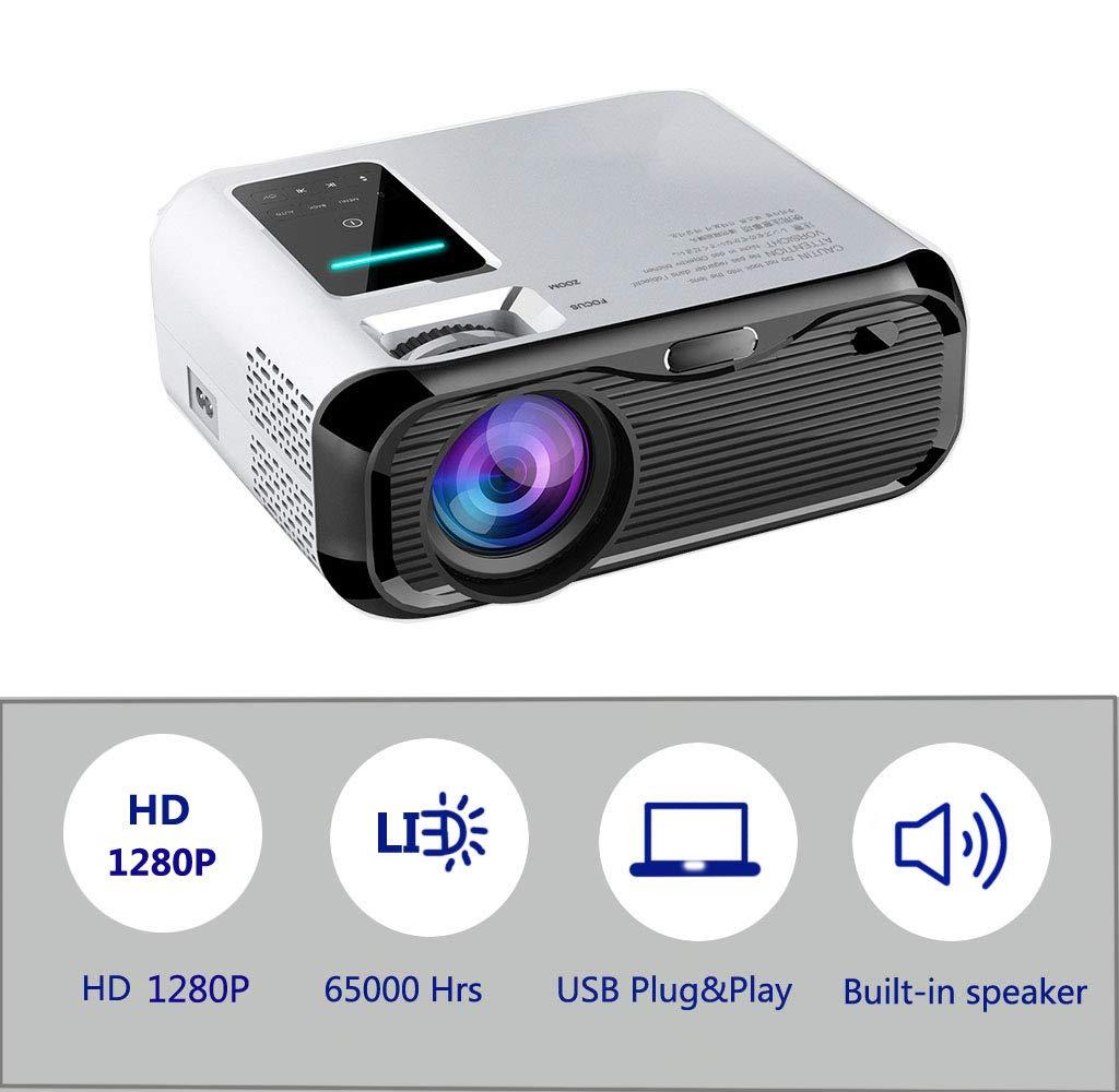 Mini proyector portátil, 1280P Full HD Video Proyector 4500 Lumen Home Cinema Personal con 65,000 Horas LED Tableta, HDMI, VGA, Micro SD, PS4 (e500)