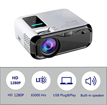 Mini proyector portátil, 1280P Full HD Video Proyector 4500 Lumen Home Cinema Personal con 65,000 Horas LED Tableta, HDMI, VGA, Micro SD, PS4 (e500)