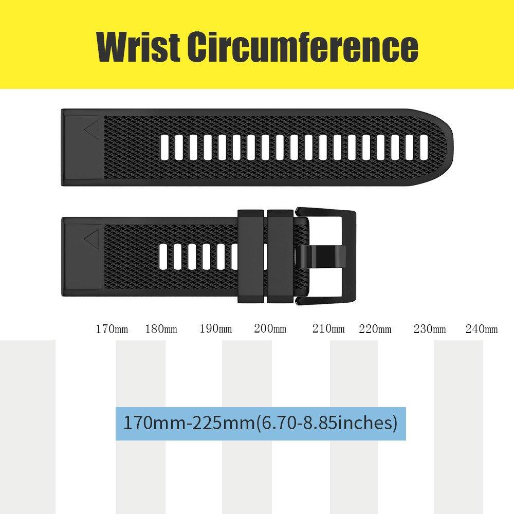 Notocity Compatible Fenix 5X Band 26mm Width Soft Silicone Watch Strap for Fenix 5XFenix 5X Plus//Fenix 3/Fenix 3 HR Smartwatch-6pcs by NotoCity (Image #5)