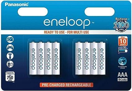 Panasonic Eneloop SY3052692 - Pack 8 Pilas Recargables, AAA: Amazon.es: Electrónica