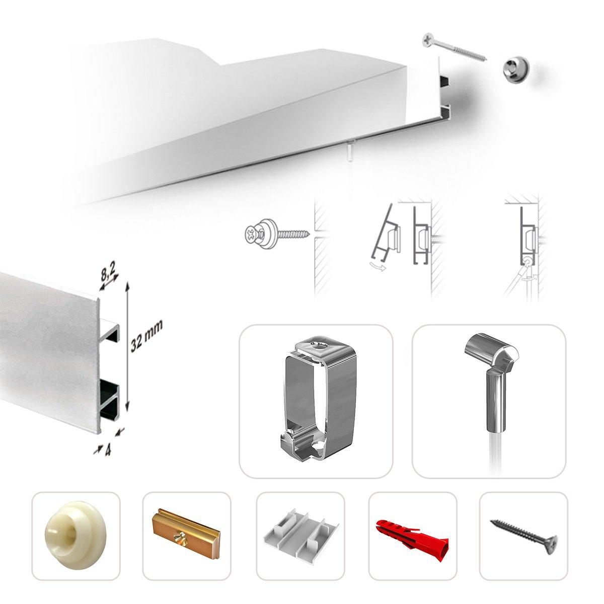 STAS CLIPRAIL MAX – Juego de listones para colgar cuadros capacidad con capacidad cuadros de carga garantizada – listo para montar con todos los accesorios, aluminio, silber (alu), 435 cm (3 Schienen) 6ac90c