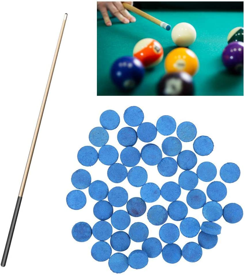 Alomejor Billiards Cue Tips 50 Pcs Snooker Cue Tips Billiard Pool Stick Replacement Tips for Blue Pool Cues Accessories