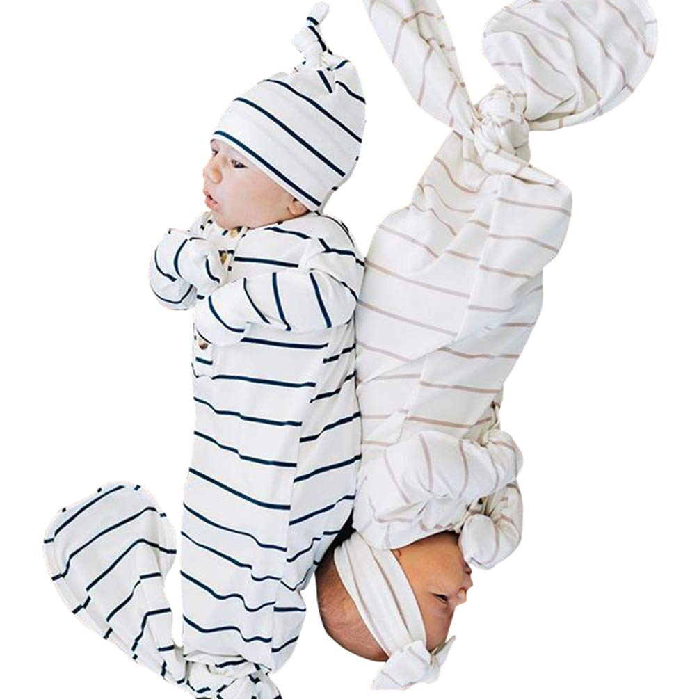 COLOOM Newborn Baby Girls Boys Gown Knotted Sleeping Bag Infant Organic Striped Sleeper with Hat