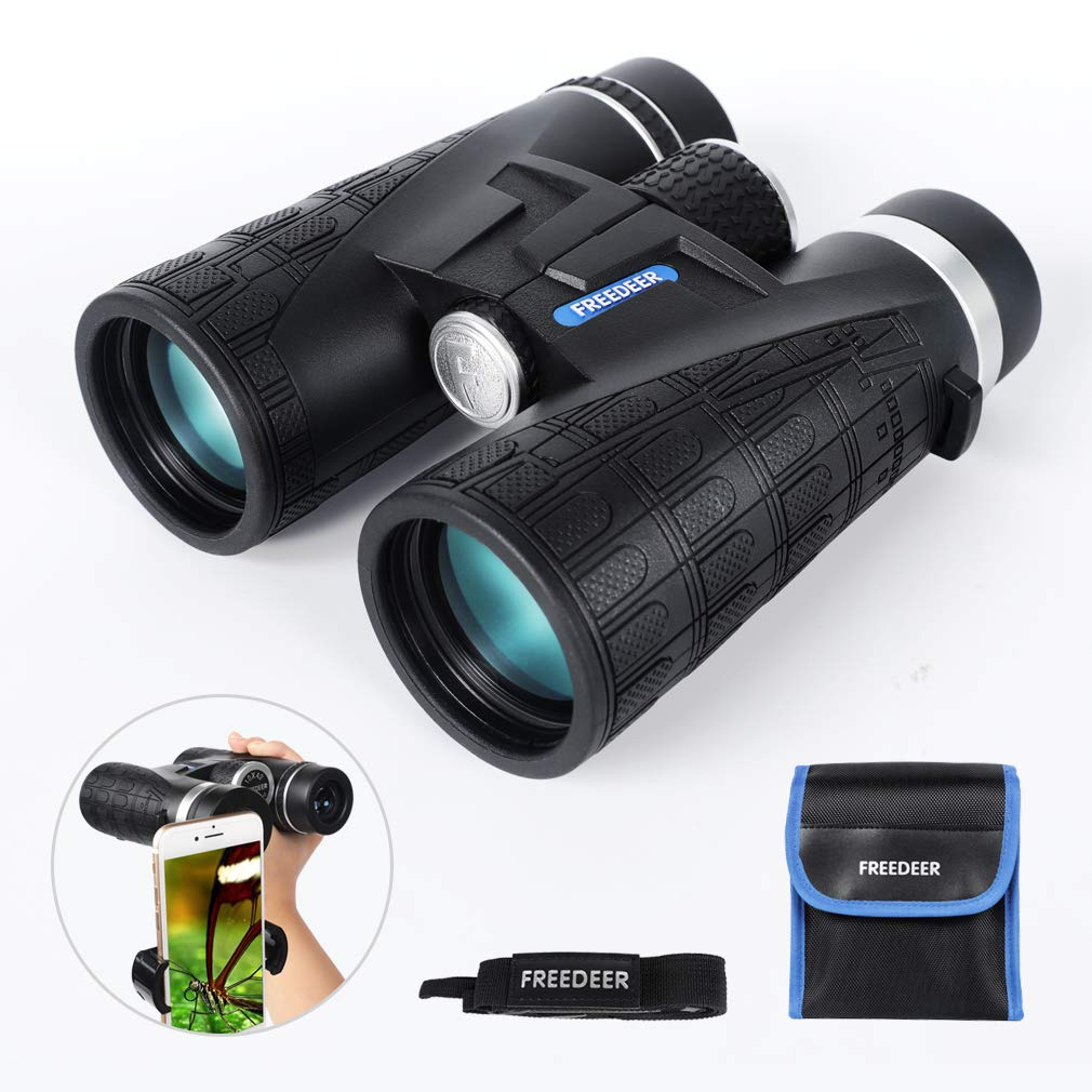 FREEDEER 10x42 Binoculars for Adults, Compact HD Waterproof Low Night Vision Telescope, BAK4 Prism FMC Lens for Bird Watching Hunting Stargazing Travel Concerts Sports, Smartphone Adapter Carrying Bag by FREEDEER