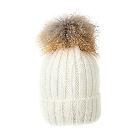 Sunroyal Donna Slouchy Inverno cappello di pelliccia maglia cappello  pelliccia di procione Beanie pom-pom Beanie Cappello di lana ... 26ce16b497ac