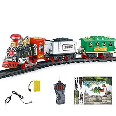 Jollymap Kids Classic Electric Railway Train Car Track Set for Play Toy,Remote Control Conveyance Car Electric Steam Smoke RC Train Set Model Toy Gift: Toys & Games