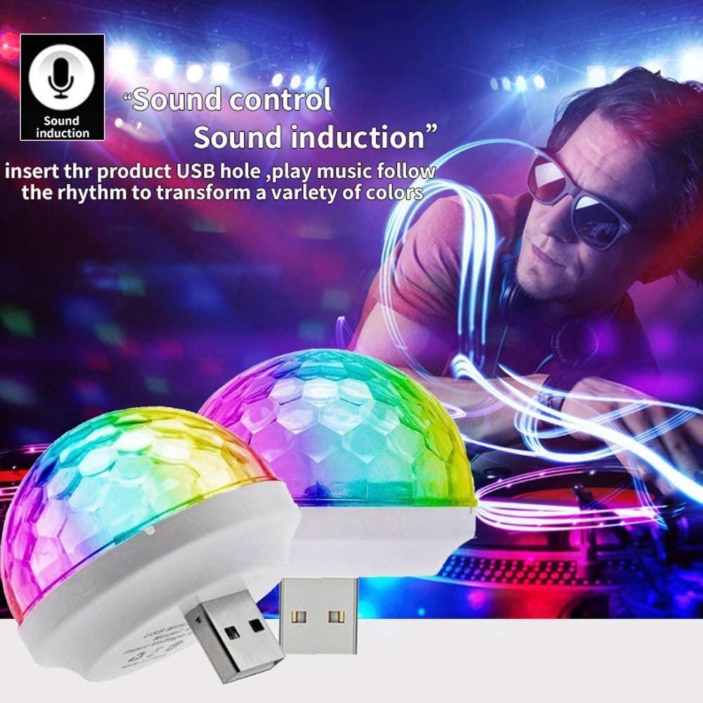 USB Mini Disco Ball Light TINGOBABY 3 Packs Stage DJ Lights,Party Lights with USB Port Power Car USB Atmosphere Light for Kids Birthday Parties,Disco and Home Christmas Decoration