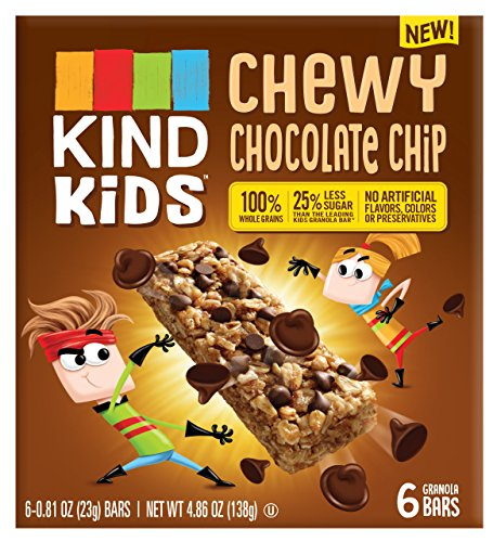 Kinder Chocolate Chips - KIND Kids Granola Chewy Bar, Chocolate Chip, 6 Count (Pack of 8)