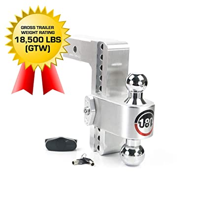 """Weigh Safe 180 HITCH CTB8-2.5 8"""" Drop Hitch, 2.5"""" Receiver 18,500 LBS GTW - Adjustable Aluminum Trailer Hitch Ball Mount & Chrome Plated Combo Ball, Dual Pin Keyed Lock: Automotive"""