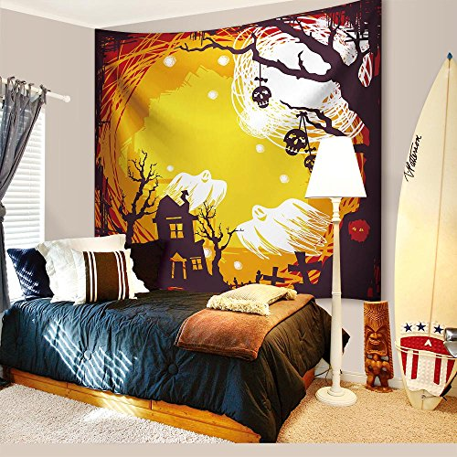 College Ideas For Halloween (Halloween Theme Decorations Tapestry Wall Hanging by IMEI, 3D Print Lightweight Fabric Yellow Wall Art Hanging for Living Room College Office Dorm and Bedroom (80 X 60 Inch, Halloween Skeleton Ghosts))