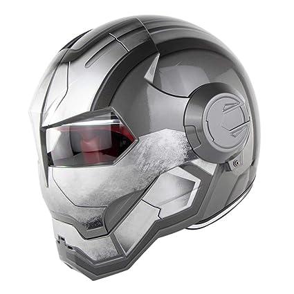 LETU Casco Moto Flip Abierto con Máscara Abierta Casco Moto, Casco Gris Brillante, Gris