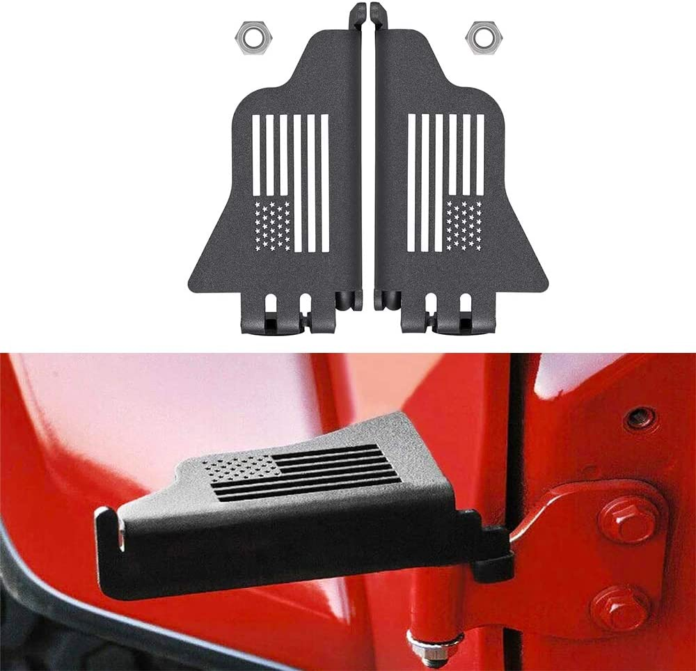 Bonbo Steel Front Foot Pegs Rest Pedal Exterior Door Hinge With US Flag for 2007-2020 Jeep Wrangler JK JKU JL JLU(2pcs)