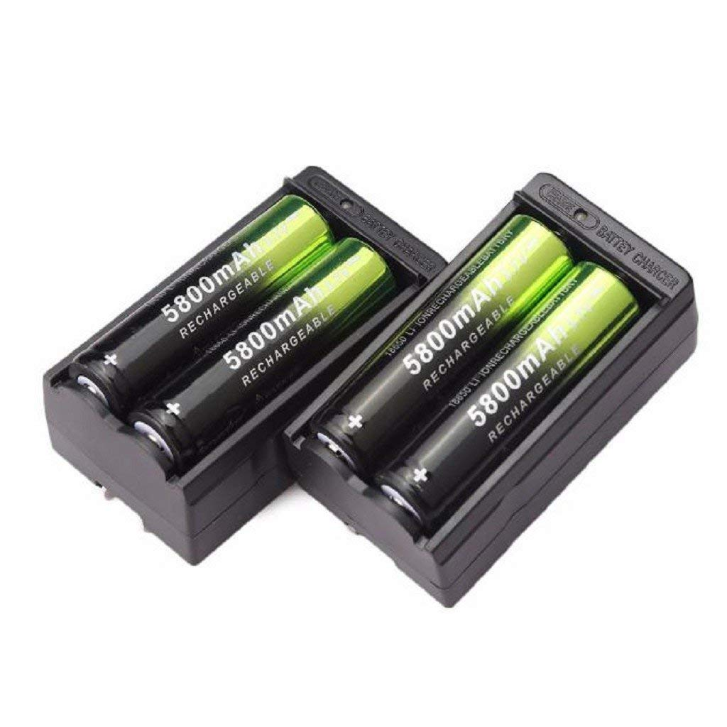 4X 5800mAh Li-ion 18650 3.7V Rechargeable Button Top Battery + 2X Smart Charger
