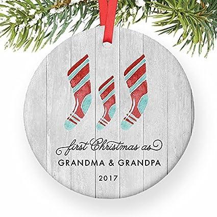 Amazon Com Christmas Tree Ornaments First Christmas As Grandma