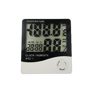 T-MEKA Temperatura y Medidor de Humedad con Alarma Reloj, Termómetro Digital LCD Higrómetro para Interiores Monitor: Amazon.es: Hogar