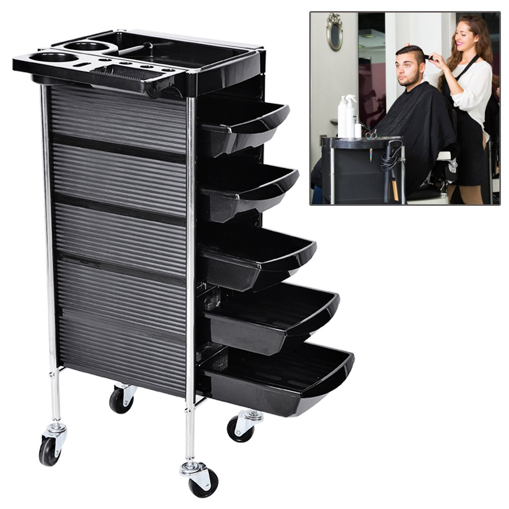 Salon Barber Cart Trolley Tray, Beauty Hairdressing 5 Drawers Rolling Wheels Cart With Hair Dryer Holder Storage Tool ZJchao