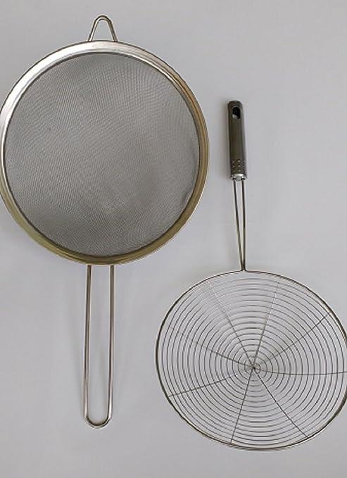 Más grande en AMAZON acero inoxidable cocina alimentos colador colador tamiz con 9 1/2
