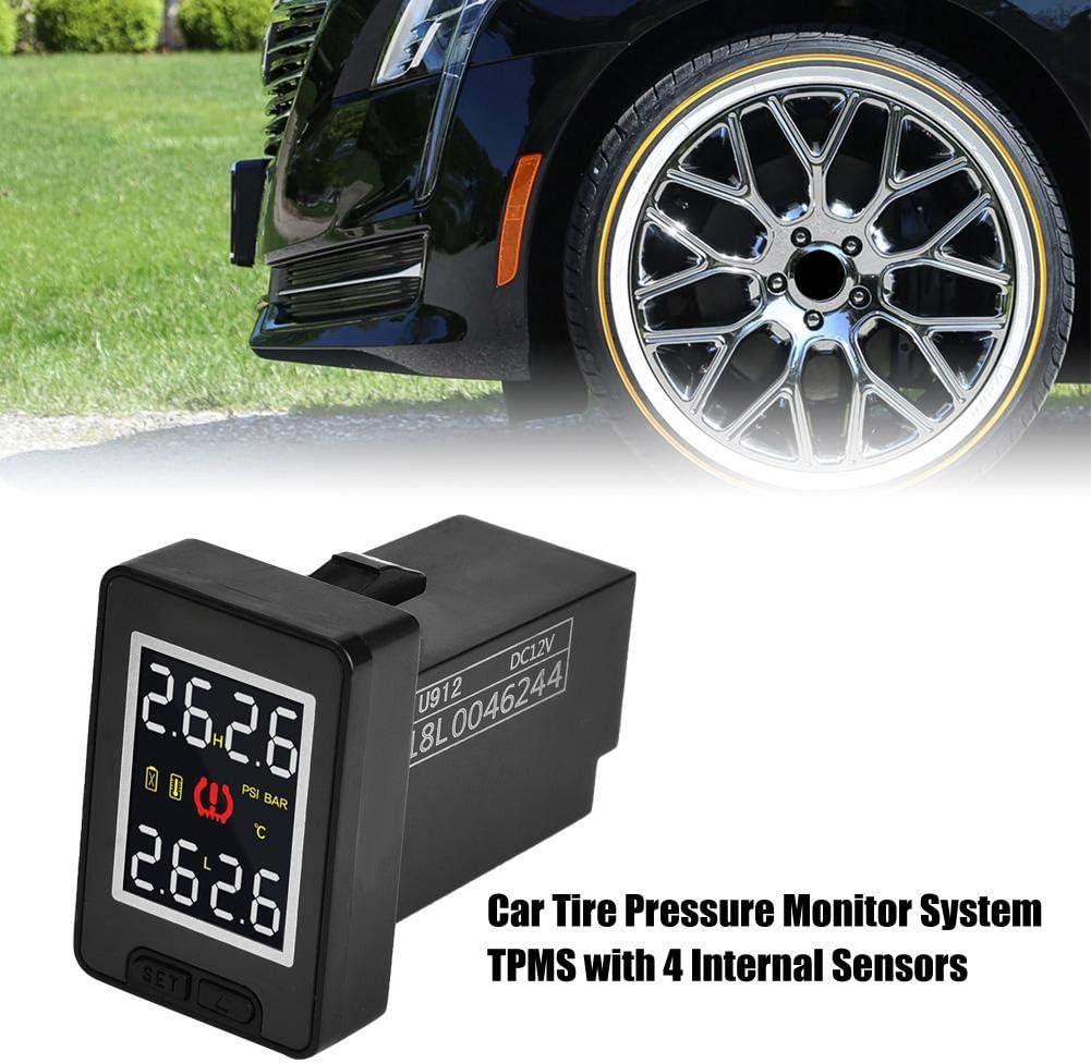 Car Vehicle DC 8V-16V Tire Pressure Monitoring System with 4 Internal Sensors for Toyota Black Hlyjoon TPMS Receiver