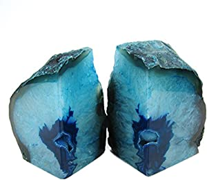 JIC Gem Teal Agate Bookends 2 to 3 Lbs Polished 1 Pair with Rubber Bumpers for Office Décor and Home Decoration