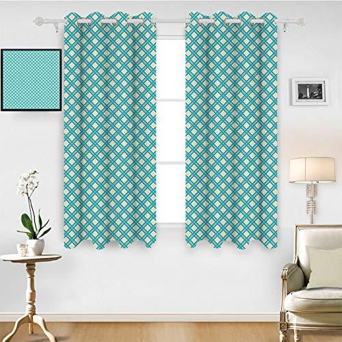 SATVSHOP 100% Blackout Window Curtain Panels - 63W x 45L Inch-Liner for Nursery.Retro Aqua Colored Monochrome Checked Pattern Geometric Diagonal Striped Tile Dign Aqua and White.
