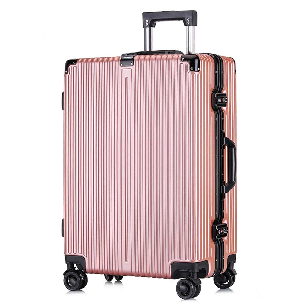 Color : Rose Gold, Size : 24 inches Male and Female Lightweight PC Portable Consignment Suitcase Trolley Case Lock 4 Wheels CLOUD Luggage Sets Travel Suitcase