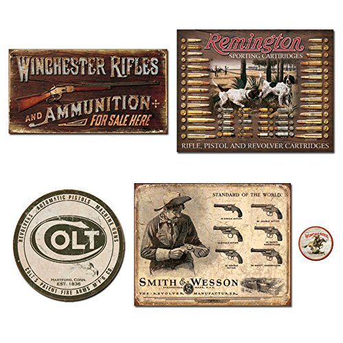 DE Sign Vintage Metal Signs Gun Bundle - Winchester Rifles & Ammo, Remington Bullet Board, Colt Round Logo, Smith and Wesson Revolver Manufacturer. Plus Winchester Logo Magnet.