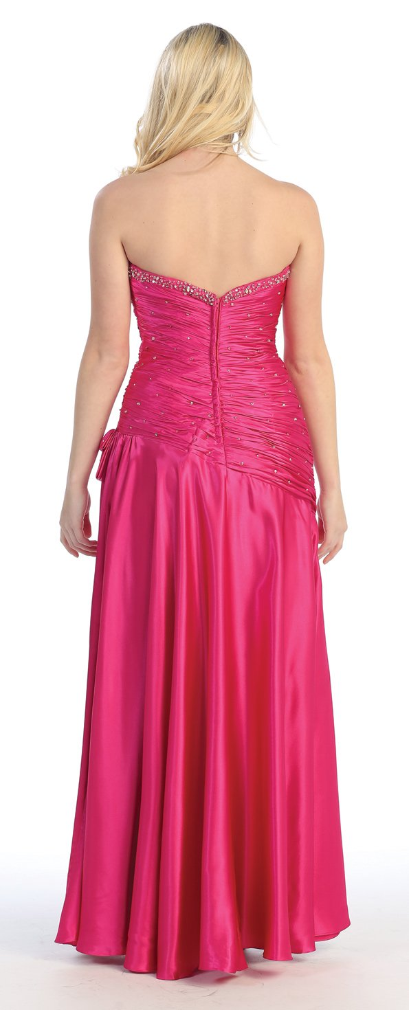 Amazon.com: US Fairytailes Strapless Satin Rhinestone Jr Prom Dress Long Gown #2713: Clothing